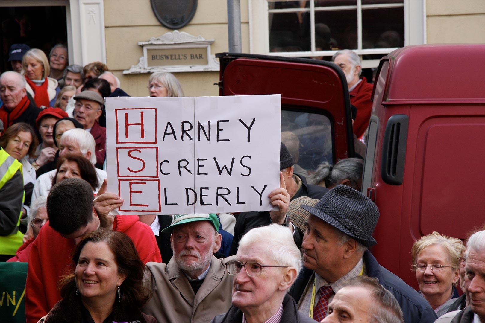 HSE Harney Screws Elderly Medical card protest Augustine o Donoghue